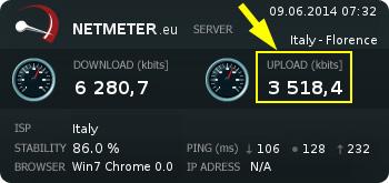 netmeter controllo velocità upload