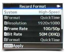 120 fps per JVC nuovo firmware Menu